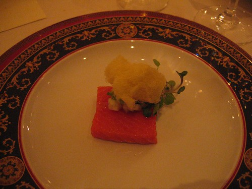 IdeasinFood - Warmed King Salmon w/ Pistachio Cotton Candy, Watercress, & Jalepeno-Apple Dressing