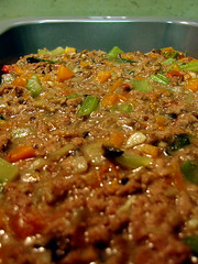 Cottage Pie: Cooked Meat Mix.
