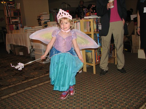 Liz as Ariel with wings on her birthday.