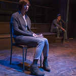 Karen Janes Woditsch (Jenni/Holly) and Josh Salt (Lee) in YELLOW MOON at Writers Theatre. Photo by Michael Brosilow.