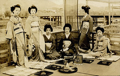 Geiko Tomigiku  and Friends on a Summer Balcony 1920 photo by Blue Ruin1