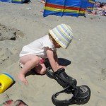 Filling dads crocs with sand<br/>26 May 2012