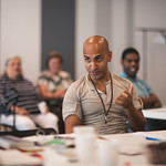 Actor Kareem Bandealy at the first rehearsal for JULIUS CAESAR at Writers Theatre. Photo by Joe Mazza—brave lux.