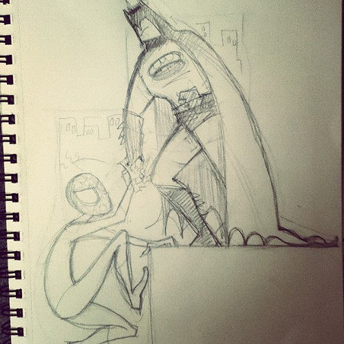 initial #sketch #illustration #todorrobot #batman #spiderman