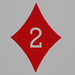 Round Playing Card 2 of Diamonds