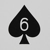 Round Playing Card 6 of Spades