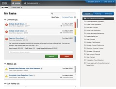 IBM BPM inbox showing inline task approval
