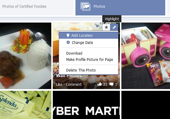 Highlight or edit your Facebook photos on the tab page