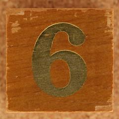 Calendar Wood Block number 6