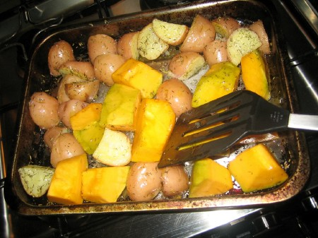 Pumpkin added to potatoes