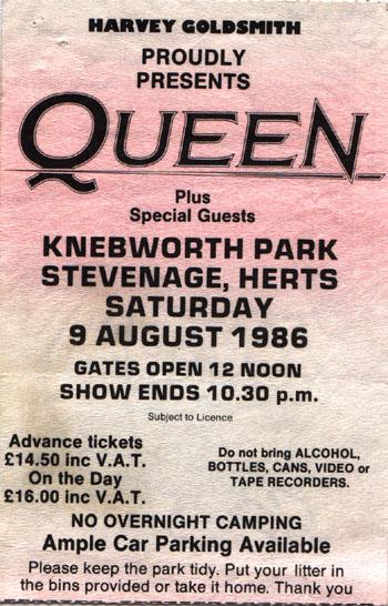 Queen last concert ticket