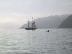 Peter paddling to The Irving Johnson Prisoners' Harbour 1