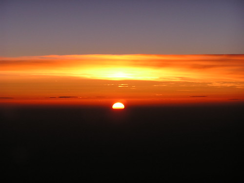 Puesta de sol sobre Hungría, a 37000 pies, de camino a Alemania