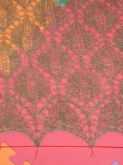 Leaf Lace Shawl blocking. Border detail