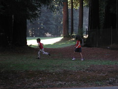 Kids playing football with the neighbors