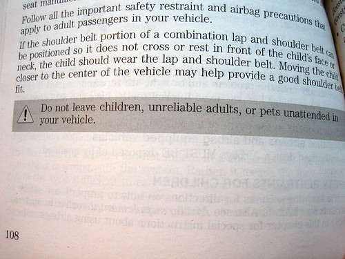 Do not leave children, unreliable adults, or pets unattended in your vehicle.