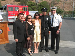 Fire Chief William Bamattre meets the family of Firefighter Michael Suarkeo