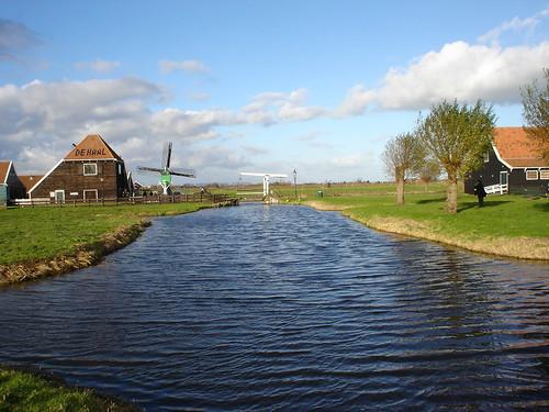 canal with drawbridge at windmill park