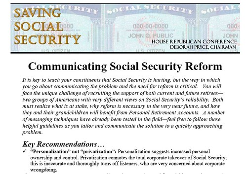 Pryce's Communicationg Social Security Reform