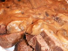 beef tongue with mushroom sauce
