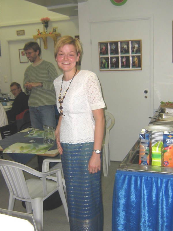 Kerstin models a Thai dress