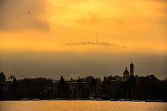 Sunset on Lake Zurich Switzerland with view of Üetliberg in background photo by mbell1975