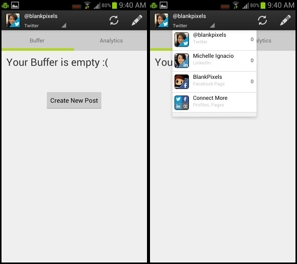 Buffer app for Android