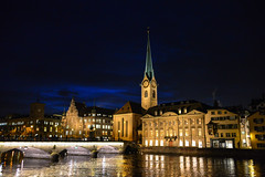 Fraumünster and Limmat River in Zurich Switzerland at Night photo by mbell1975