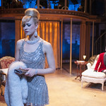Emily Ariel Rogers (Ursula) and Jeff Parker (Vittorio) in SWEET CHARITY at Writers Theatre. Photo by Michael Brosilow.