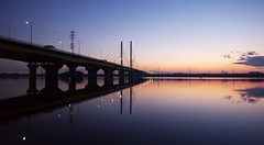 Sunset of Saiko Lake and Sakitama Ohashi Bridge photo by huzu1959