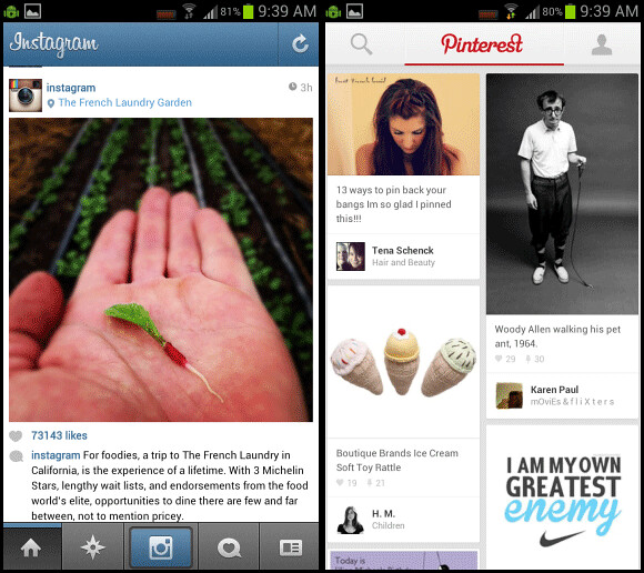 Instagram and Pinterest apps for Android