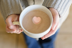 Hot Chocolate with Heart-Shaped Marshmallows photo by Julie Rideout
