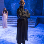 Arya Daire (Portia) and Kareem Bandealy (Brutus) in JULIUS CAESAR at Writers Theatre. Photo by Michael Brosilow.