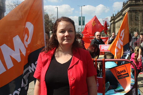 Karen Bruce with the GMB bed at the Leeds against the bedroom tax rally