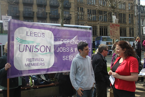 Councillor Alex Sobel and Councillor Karen Bruce at the Leeds against the bedroom tax rally