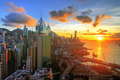 Beautiful Sunset with blue sky in Hong Kong photo by b80399