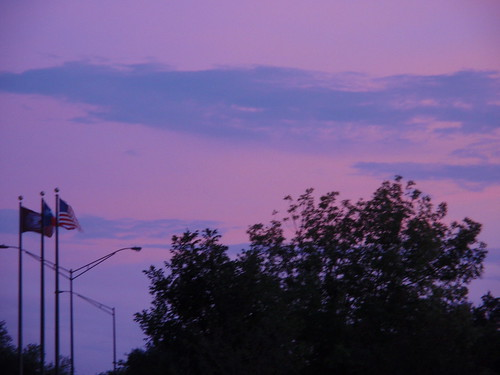Texas Dusk with Flags on the Side