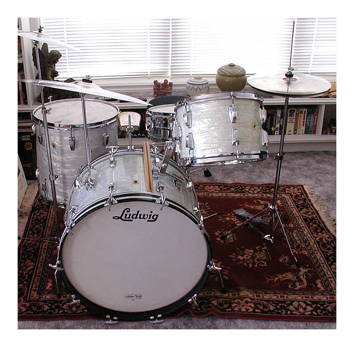 My 1966 ludwig 39 s in white marine pearl for 18 inch floor tom for sale