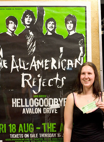 Sam, her ticket and the gig poster
