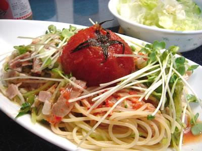 トマトのキムチの冷製パスタ