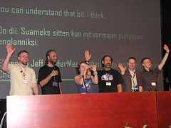 Finncon Guests standing and waving to the audience