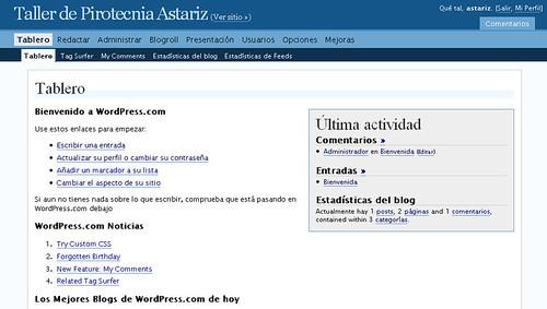 Tablero general Wordpress