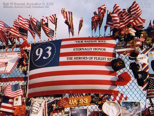 Flag on Temporary Memorial at Flight 93 Site, September 11, 2002