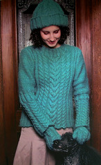 cabled pullover for jca crafts, fall 2006