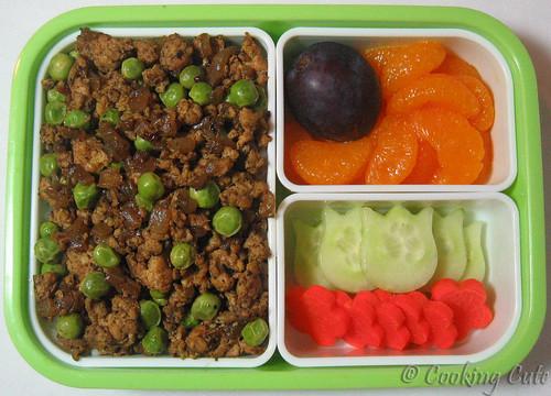 [bento with donburi, fruit, veggies]