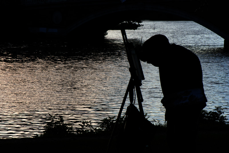 Artist Painting on the Charles River - Boston, MA