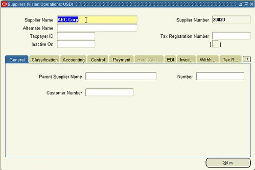Oracle Form Personalization (Supplier Form 1)