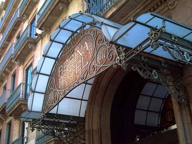 Regina Hotel in Barcelona: Wrought Iron Marquee Detail