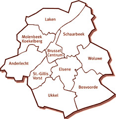 Kaart Brussel: namen van gemeentes