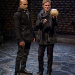Horatio (Kareem Bandealy) and Hamlet (Scott Parkinson) in HAMLET at Writers' Theatre. Photo by Michael Brosilow.